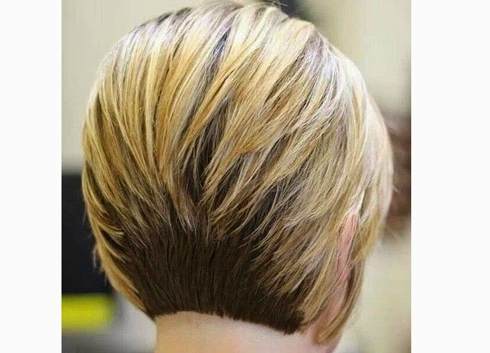Short inverted bob haircut back view