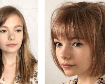antes e depois-cabelo -curto franjinha