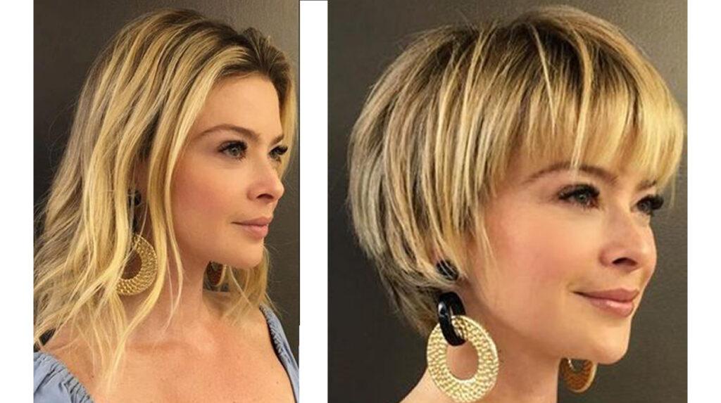 @marcelebecker antes e depois cabelo curto.